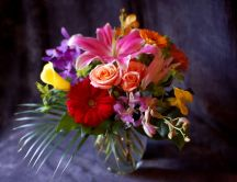 Flowers - gerbera, roses, orchids, lilies- beautiful bouquet