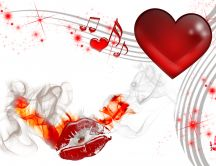 Heart, red lips on fire and musical note - Valentine's Day