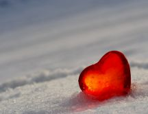 A heart of ice on the white snow