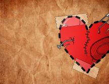Heart sewn and glued HD wallpaper