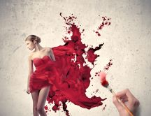 Painting a beautiful red dress - art HD wallpaper