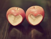 Heart - bite from an apple - Happy valentine's Day