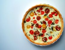 Delicious pie with ricotta and lots of tomatoes