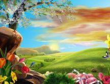 Easter bliss landscape - HD wallpaper