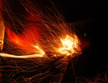 Playing with the fire and the camera - artistic HD wallpaper