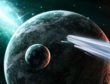 Meteorite attack the planet - space HD wallpaper