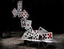 Abstract castle of cards poker