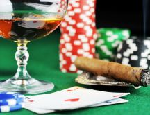 Whiskey and cigar - perfect for poker