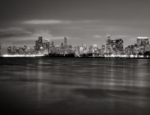 A city lit up at night - beautiful gray HD wallpaper