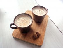 Hot creamy chocolate - milk and nuts
