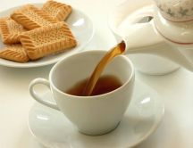 Good morning - hot tea and biscuits