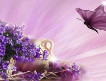Purple wallpaper - flowers, candle and butterfly