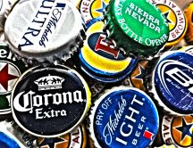 Collection of beer caps HD wallpaper