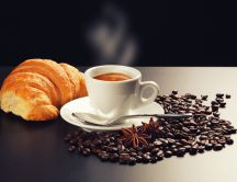 Croissant and coffee - perfect breakfast