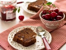Delicious breakfast - cherry jam