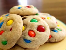 Delicious cookies with candy m & m's