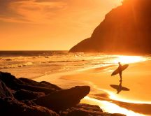 Beautiful time for surfing - sunset