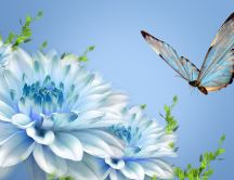 Blue butterfly and beautiful blue flowers