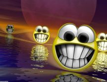 Funny smiley faces float on water - HD wallpaper