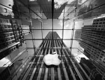 Abstract Apple building - gray HD wallpaper