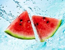 Fresh slice of watermelon - sweet summer fruit