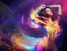Fantastic clothes  - abstract water and fire wallpaper