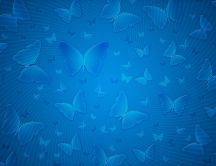Blue butterflies on a blue HD wall
