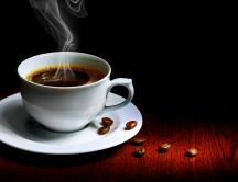 A pleasant smell of coffee in the morning