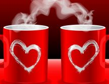 Two coffee cups of the love - HD wallpaper