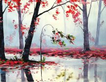 Painted wallpaper - beautiful red forest in the mirror