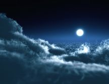 The moon is hiding above the clouds
