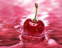 Fresh cherry thrown into the water - 3D Macro wallpaper