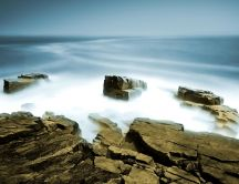 Rocks hidden under a carpet of fog - nature HD wallpaper