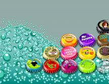 Colored bottle caps and funny - bubble