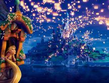 Hundreds of lanterns light the sky - World Disney movie