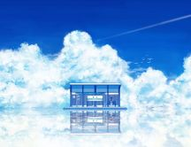 Anime girl in a bus stop - fluffy clouds