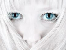 White hair and big beautiful blue eyes - HD wallpaper