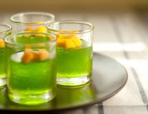 Fresh summer drink - green tea and fruits