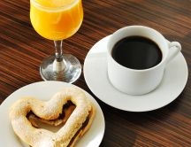 Love in the morning - coffee, fruit juice and heart