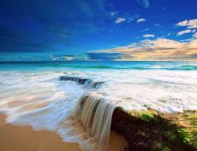 Small waterfall in the ocean - HD wonderful landscape