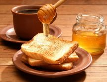 Delicious breakfast - tea, toast and honey
