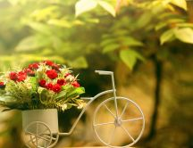 Special vase in a bicycle shape - small bouquet of flowers