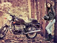 Girl with the motorcycle in the forest - photo shoot