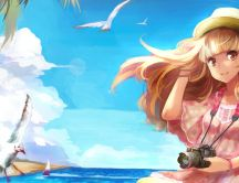 Anime blonde girl in a summer holiday