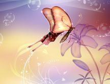 Abstract butterfly and a background full with flowers