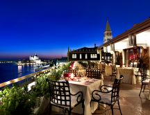 Romantic terrace in Venice - Italy - dinner time