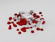 Abstract bloody wallpaper - 3D spots of blood