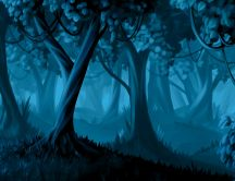 Blue forest in the night - trees from the story