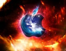 Ice apple and fire background - HD wallpaper