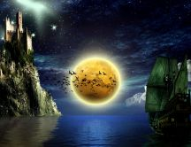 Big moon on the sea - fantasy HD wallpaper in the night